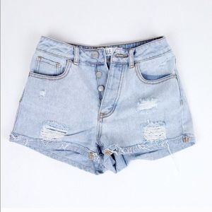 Brandy Melville | High Rise Distressed Shorts - 23